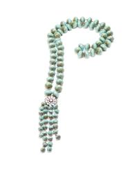 teal love tassel necklace