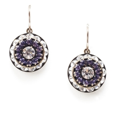 crystal & amethyst corinne love drop earrings